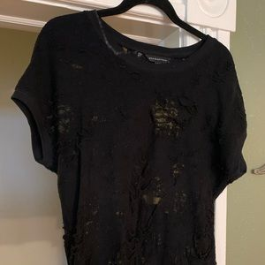 Black Distressed Rock and Republic Shirt